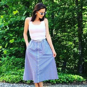Vintage Button Down Belted Gingham Blue Midi Skirt